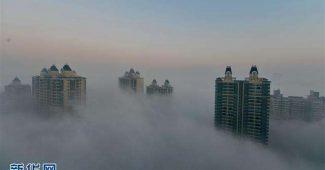 石家庄市被雾霾笼罩